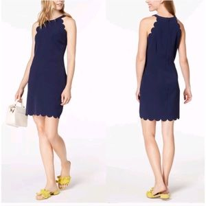 Maison Jules Scallop-Trim Halter Navy Blue Dress